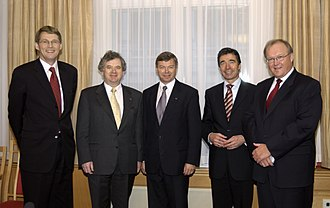 2003 in Norway - Five Nordic Prime Ministers (Matti Vanhanen (left) from Finland, Davíð Oddsson (second left) from Iceland, Kjell Magne Bondevik (center) from Norway, Anders Fogh Rasmussen (second right) from Denmark and Göran Persson (right) from Sweden) at the Nordic Council Session in Oslo, Norway, on 27 October 2003.
