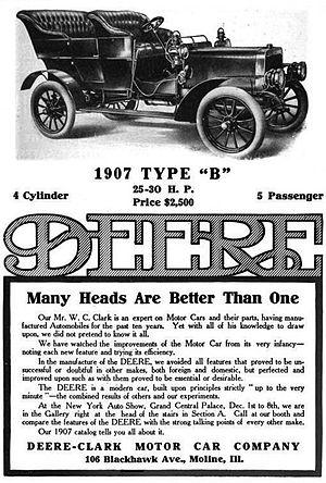 Deere (automobile) - Deere-Clark Motor Car Company of Moline, Illinois - 1907