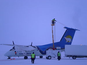 Canadian North - A DHC-8-100 being de-iced at Cambridge Bay Airport