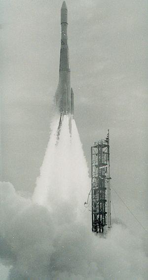 Delta 37 rocket propelling ESSA II into orbit.