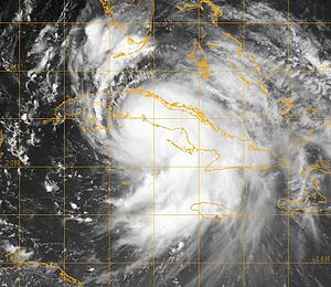 Meteorological history of Hurricane Dennis - Hurricane Dennis shortly before making landfall in Matanzas Province, Cuba, on July 8 as a Category 4.