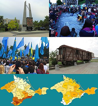 Deportation of the Crimean Tatars - Left to right, top to bottom: Memorial to the deportation in Eupatoria; candle-lighting ceremony in Kiev; memorial rally in Taras Shevchenko park; cattlecar similar to the type used in the deportation; maps comparing the demographics of Crimea in 1939 and 2001.