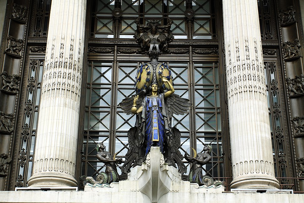 Detail of sculpture above the entrance of Selfridges on the Oxford Street, London 2013 (3)