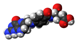 Space-filling model of the dihydrofolic acid molecule