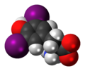 Diiodotyrosine zwitterion 3D spacefill.png