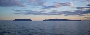 Bering Strait - Little Diomede Island (US, left) and Big Diomede Island (Russia, right).