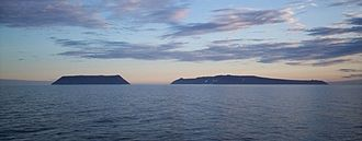 Bering Strait - Little Diomede Island (US, left) and Big Diomede Island (Russia, right)