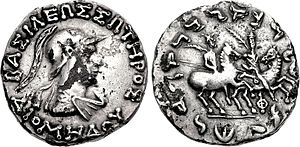 "Diomedes Soter - Coin of Diomedes. Obv: Helmetted king Diomedes. Greek legend: BASILEOS SOTEROS DIOMEDOY ""Of King Diomedes, The Saviour"". Rev: Dioscuri. Kharoshti translation of legend."
