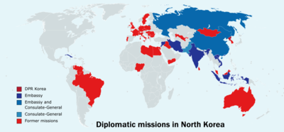 Map Of Diplomatic Missions In North Korea