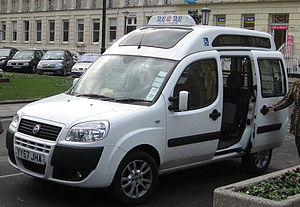 Adapted automobile - A wheelchair-adapted taxi in Cheltenham, UK.