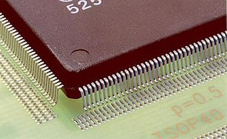 Rework (electronics) - Dispensed solder paste on the pads of a QFPs