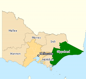 Division of Gippsland - Division of Gippsland in Victoria, as of the 2016 federal election.