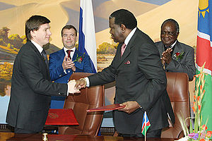 Hage Geingob - Geingob signing a trade deal with Russia in 2009. Russian President Dmitry Medvedev is standing on the left at the back