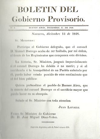Decembrist revolution (Argentina) - Report of Lavalle, announcing the execution of Dorrego