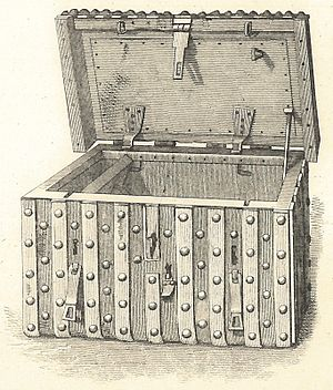Domesday Book - Domesday chest, the German-style iron-bound chest of c.1500 in which Domesday Book was kept in the 17th and 18th centuries
