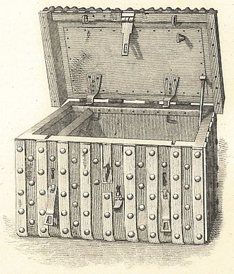 Domesday chest, the German-style iron-bound chest of c.1500 in which Domesday Book was kept in the 17th and 18th centuries Domesday chest.jpg