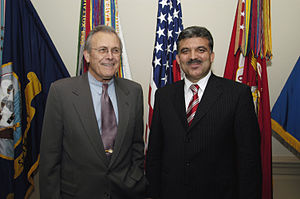 Abdullah Gül - U.S. Secretary of Defense Donald H. Rumsfeld and Minister of Foreign Affairs Abdullah Gül in the Pentagon, Washington, D.C., 2003