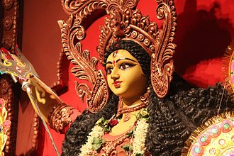 Women and religion - Durga Puja statue, Hiranandani Gardens, Mumbai, India, 2015.
