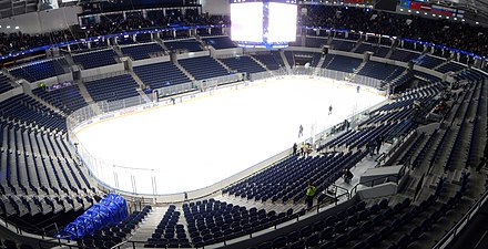 VTB Arena is an example of an indoor ice hockey arena. The arena is used by HC Dynamo Moscow. Dynamo Stadium - Ice hockey arena - Panorama after match.jpg