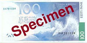 100 krooni - Reverse of the 100 krooni banknote