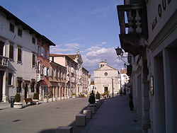 Main street with town hall (left)
