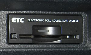 Electronic toll collection - ETC Built-in Onboard device in a Nissan Fuga vehicle in Japan