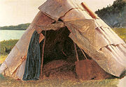 Ojibwe Wigwam at Grand Portage painted by Eastman Johnson in 1857