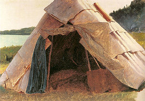 Grand Portage National Monument - Ojibwe Wigwam at Grand Portage, painted by Eastman Johnson in 1857