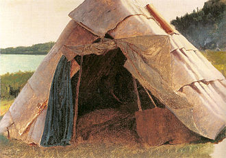 First Nations - Details of Ojibwe Wigwam at Grand Portage by Eastman Johnson