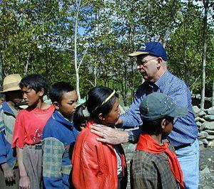 Creswell Eastman - Eastman examining Tibetan schoolchildren for goitre in Tibet Autonomous Region May 2000