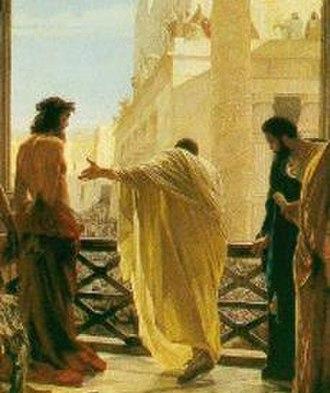 Mark 15 - Ecce Homo (Behold, the Man!), Antonio Ciseri, 19th century: Pontius Pilate presents a scourged Jesus of Nazareth to onlookers