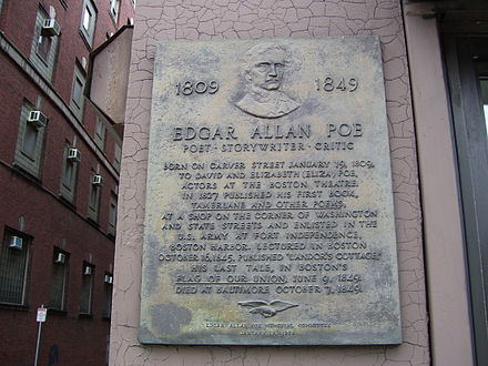 This plaque in Boston marks the approximate location where Edgar Poe was born. Edgar Allan Poe Birthplace Boston.jpg