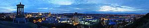 Dugald Stewart Monument - Image: Edinburgh Night Panorama from Calton Hill