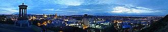 Dugald Stewart Monument - Image: Edinburgh Night Panorama from Calton Hill