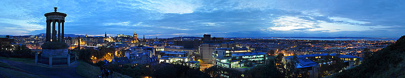 Edinburgh Night Panorama from Calton Hill
