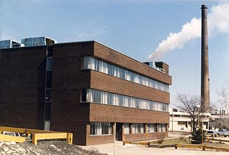 Nickel Centre - The Edison building, built by Falconbridge Ltd. in 1969, here photographed in 1985