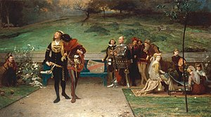 Piers Gaveston, 1st Earl of Cornwall - An 1872 painting by English artist Marcus Stone shows Edward II cavorting with Gaveston while nobles and courtiers look on with concern.