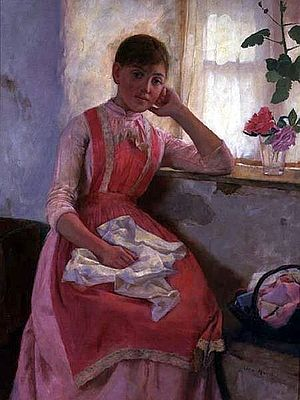 Portrait Of A Girl In A Pink Apron