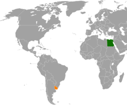 Map indicating locations of Egypt and Uruguay