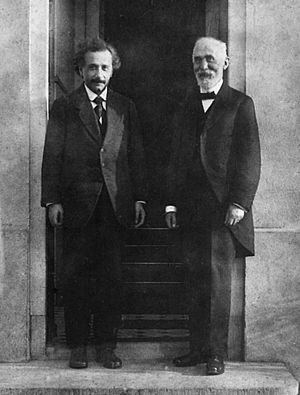 Hendrik Lorentz - Albert Einstein and Hendrik Antoon Lorentz, photographed by Ehrenfest in front of his home in Leiden in 1921.