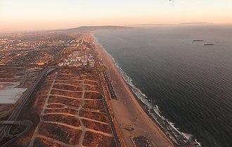 El Segundo, California - El Segundo behind former Palisades del Rey, also known as Surfridge. Aerial photo from 2015.