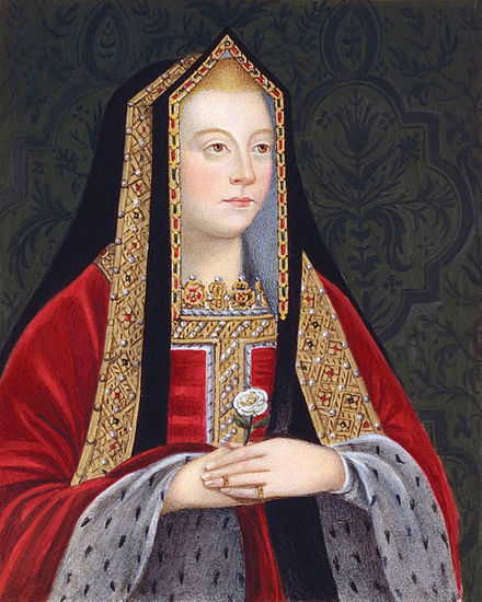 An 18th-century copy of Elizabeth of York as queen: She holds the white rose of the House of York. Elizabeth of York, right facing portrait.jpg