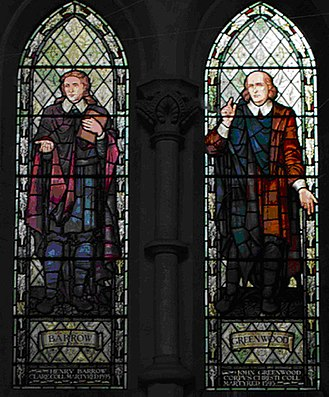 John Greenwood (divine) - Henry Barrow (left) and John Greenwood, stained glass windows at Emmanuel United Reformed Church, Cambridge