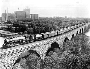 Empire Builder - Empire Builder on the Stone Arch Bridge, Minneapolis, c. 1929.