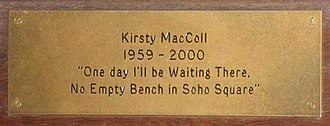 Kirsty MacColl - Image: Empty bench close up