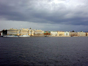 English Embankment - The English Embankment with the Senate and Synod buildings, view from Vasilievsky Island
