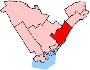 Leeds—Grenville—Thousand Islands and Rideau Lakes - Leeds–Grenville shown within the Eastern Ontario region