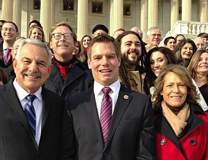 Eric Swalwell - Representative Eric Swalwell on the Capitol Hill steps with friends, family, and campaign staff.