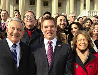Eric Swalwell - Representative Eric Swalwell on the Capitol Hill steps with friends, family, and campaign staff
