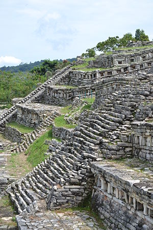 Cuetzalan - View from the steps of the pyramids of Yohualichan.